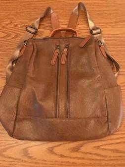 "New Backpack Style Purse Handbag Brown Leather 11""x9"" Mu"