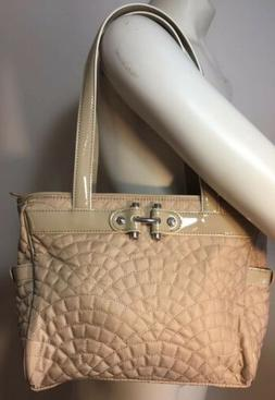 new beige quilted patent leather purse zipper