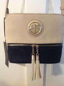 New DELUXITY Black & Ivory Tassel Charm Crossbody or Shoulde