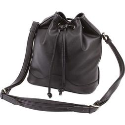 DRAWSTRING BUCKET PURSE Black Vegan Faux Leather Adjustable