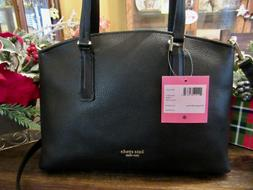 New Kate Spade New York Black Leather Abbott Small Satchel T