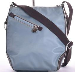New LANCEL Blue Nylon Brown Leather Crossbody Purse NWOT