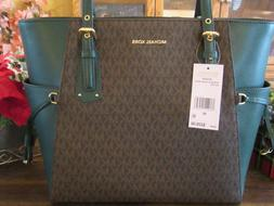 New Michael Kors Brown Racing Green Signature Leather Voyage