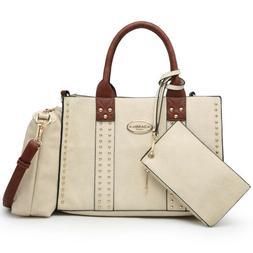 Dasein 3pcs Women Handbags Faux Leather Satchel Tote Shoulde