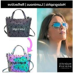丿New Geometric Luminous Purses and Handbags Holographic Re