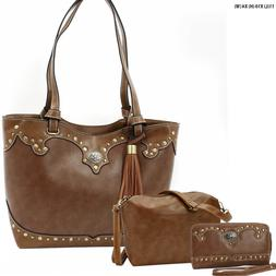 New Large 3 Pc Tan Color Purse/Hipster/Wallet set with Silve