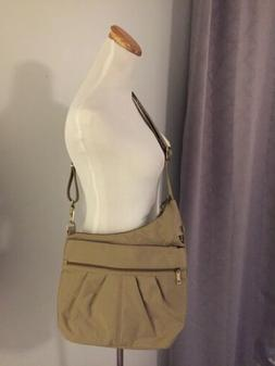 New Large Travelon Anti Theft Tan Asymmetrical Crossbody Or
