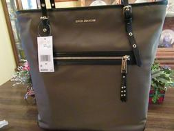 New Michael Kors Large Olive Nylon Leather Leila Tote Satche