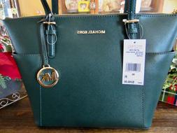 New Michael Kors Leather Racing Green Jet Set Item EW Zip To