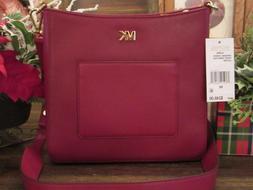 New Michael Kors Maroon Leather Gloria Pocket Swing Pack Cro
