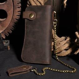 New Men's Genuine Leather Long Wallet Bifold Zipper Purse Wi