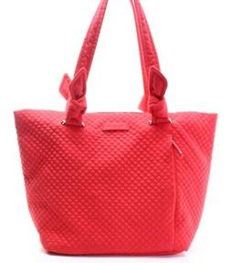 Vera Bradley NEW Red Quilted Zip Top Handle EW Medium Tote B