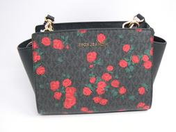 New Michael Kors Selma Black Signature Red Rose Floral Messe
