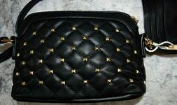 New Set Alyssa Black Vegan leather purse golden accents and