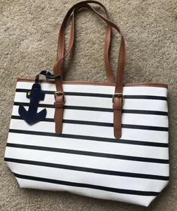 NEW COOFIT Stripe Purse Tote Bag Stripes Top Handle Satchel