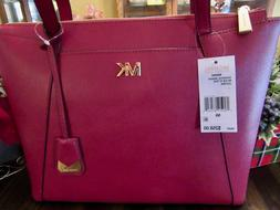 New Michael Kors Textured Leather Maroon Red Maddie MD EW TZ