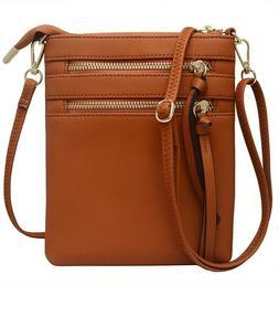 *NEW* Women's Small Brown Crossbody Purse Multi Zipper and