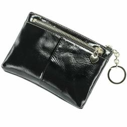 New Women Small Genuine Leather Purse Zip Wallet Lady Coin C