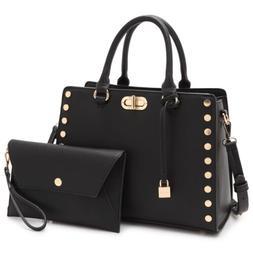 Dasein Womens Faux Leather Handbag Satchel Bag Shoulder Purs