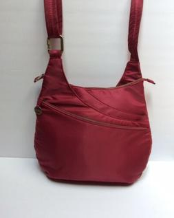 NWOT Travelon Crossbody Anti Theft Drape Pocket Cranberry Ne