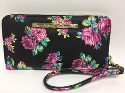 NWT Betsey Johnson Black And Pink Rose Floral Wristlet Purse