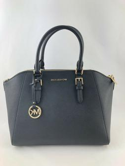 NWT MICHAEL KORS CIARA LARGE BAG BLACK SAFFIANO LEATHER PURS