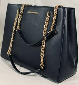 NWT Michael Kors ELLIS Large  Tote Black Leather Bag Purse S