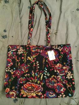 NWT Vera Bradley Essential Tote Bag Midnight Wildflowers Blu