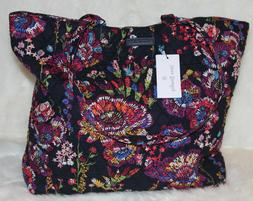 NWT Vera Bradley Essential Tote Bag Midnight Wildflowers Blu