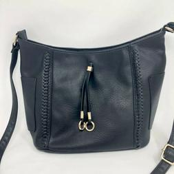 NWT DELUXITY Los Angeles Hobo Black & Gold TASSEL PURSE with