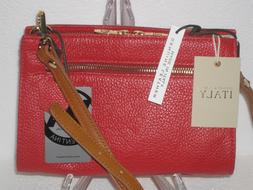 NWT Valentina Made In Italy RED Pebbled Italian Leather Cros