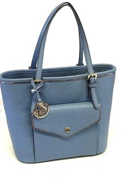 NWT MICHAEL KORS Saffiano Frame Tote Blue Denim Purse Leathe