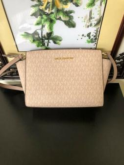 NWT Michael Kors Selma Medium Messenger Crossbody Bag Fawn/b