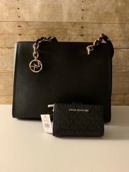 NWT Michael Kors Sofia Black Leather Large Shoulder Tote Bag