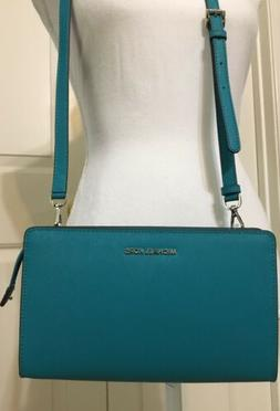 NWT Michael Kors Tile Blue Teal leather LG crossbody purse