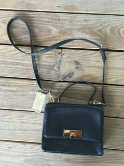 NWT MICHAEL KORS WOMAN'S BLACK LEATHER CROSS-BODY MESSENGER