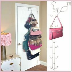 Over Door Hanging Purse & Handbag Storage- DURABLE, 12 Hooks
