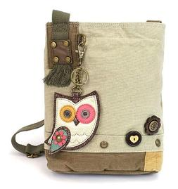 Chala Patch Crossbody Owl II Sand Canvas Handbag Tan Brown P