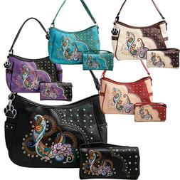 Peacock Purse Colorful Embroidery Western Concealed Carry Ha