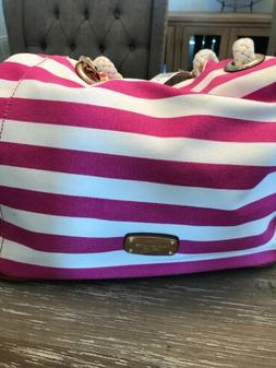 Michael Kors Pink And White Canvas Purse Large Brand New Wit