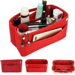 Portable Felt Fabric Organizer Handbag Bag Purse Red Pouch M