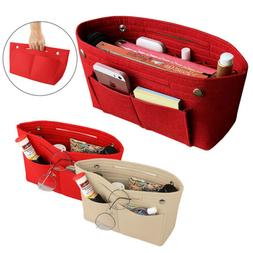 Portable Handbag Organizer Felt Fabric Purse Bag W/ Multi Po