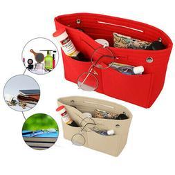Portable Felt Fabric Purse Case Handbag Organizer Bag W/ Mul