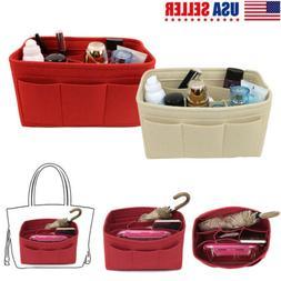 Portable Felt Fabric Purse Handbag Organizer Bag W/ Multi Po