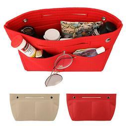 Portable Felt Fabric Purse Handbag Organizer Bag Multi Pocke