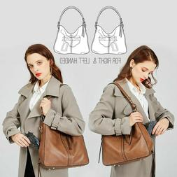 Portable Large Women's Concealed Carry Leather Handbag+Gun H