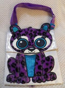 Justice Purple Fuzzy Leopard with Glitter Purse Handbag Cute