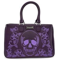 Loungefly Purple Purse Skull and Roses Tote Handbag Vegan Fa