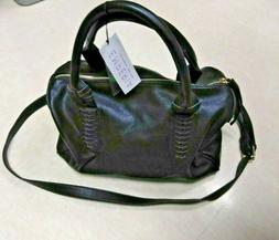 Emperia purse, black genuine VEGAN faux leather large purse