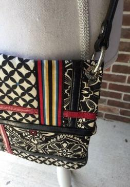 VERA BRADLEY Purse Handbag Black And White Barcelona Multi S